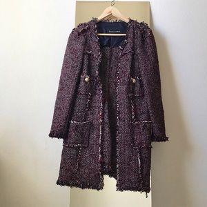 Zara Tweed Frayed Coat SZ S/M